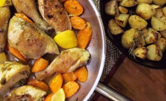 Lemon-Scented Crispy Chicken Thighs with Potatoes and Baby Carrots ...