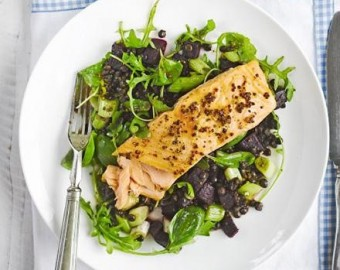 Honey mustard grilled salmon with lentils