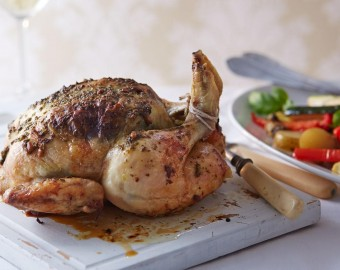 Roast chicken with pesto and veg recipe