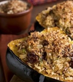 SWISS CHARD AND WILD RICE STUFFED SQUASH
